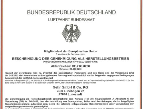 Gehr GmbH & Co. KG als Produktions- und Instandhaltungsbetrieb für Luftfahrtmöbel zertifiziert